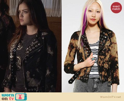 Bess X UO Urban Outfitters Grommet Moto Jacket worn by Lucy Hale on PLL