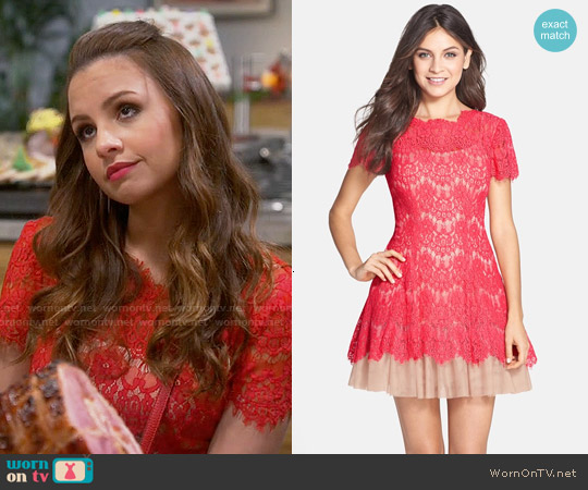 Betsey & Adam Short Sleeve Lace Fit & Flare Dress worn by Aimee Carrero on Young & Hungry