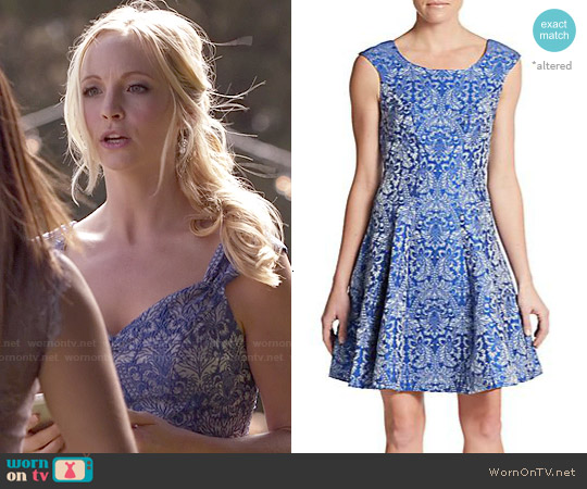 Betsey Johnson Baroque Print Fit & Flare Dress worn by Candice Accola on The Vampire Diaries