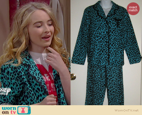 Betsey Johnson Blue Leopard Print Pajamas worn by Sabrina Carpenter on Girl Meets World