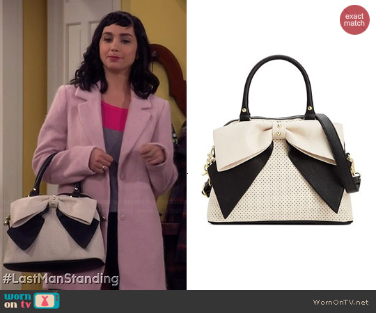 Betsey Johnson Dome Satchel worn by  Molly Ephraim on Last Man Standing
