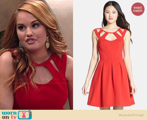 Betsey Johnson Cutout Fit and Flare Dress worn by Debby Ryan on Jessie