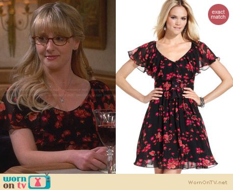 Betsey Johnson Flutter Sleeve Dress worn by Melissa Rauch on The Big Bang Theory