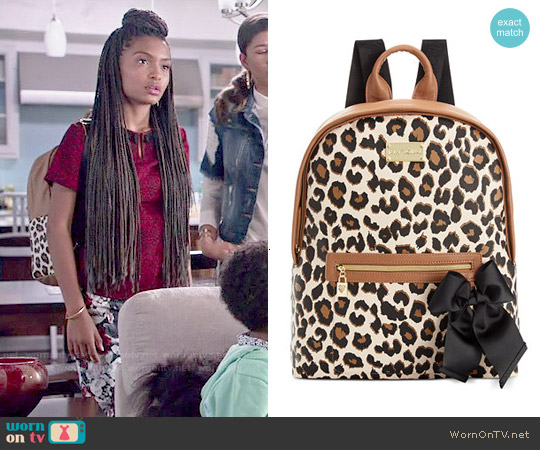 Betsey Johnson Leopard Backpack worn by Yara Shahidi on Blackish