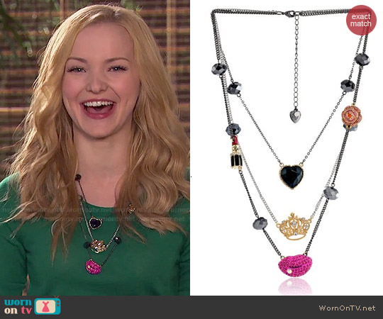 Betsey Johnson Lips Crown Heart Long Necklace worn by Dove Cameron on Liv & Maddie