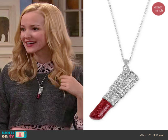 Betsey Johnson Lipstick Pendant Necklace worn by Dove Cameron on Liv & Maddie