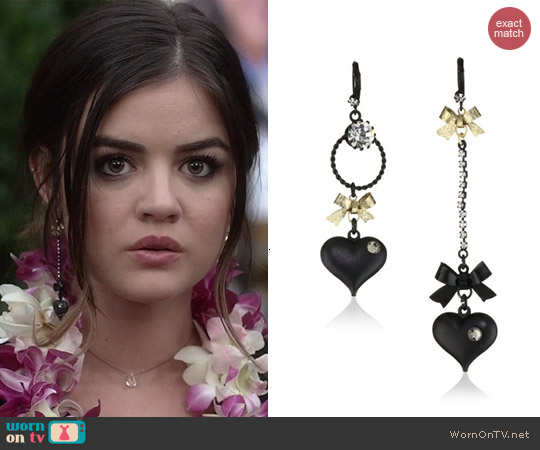 Betsey Johnson Mismatch Bubble Heart Earrings worn by Lucy Hale on PLL