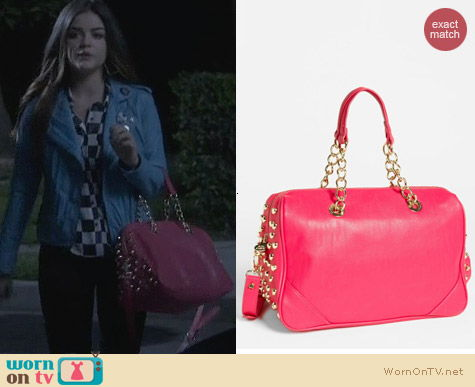 Betsey Johnson Pink Heart Attack Satchel worn by Lucy Hale on PLL