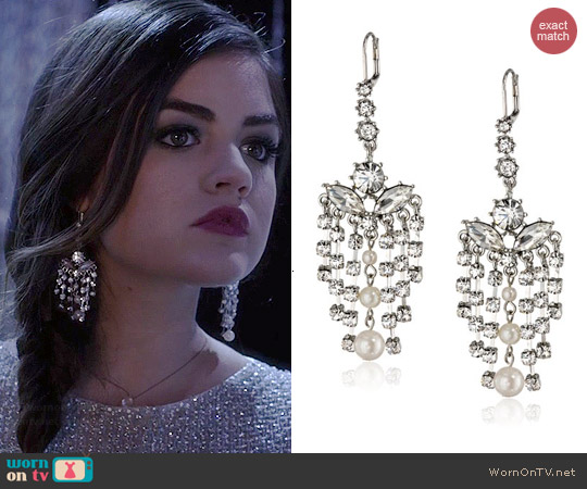 Betsey Johnson Pretty Punk Pearl Earrings worn by Lucy Hale on PLL