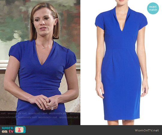Betsey Johnson Puffed Sleeve Scuba Sheath Dress worn by Melissa Claire Egan on The Young & the Restless
