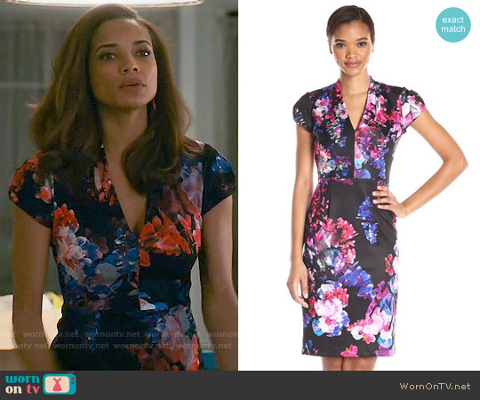 Betsey Johnson Floral-Print Midi Sheath Dress worn by Rochelle Aytes on Mistresses