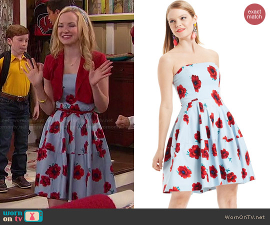 Betsey Johnson Strapless Floral-Print Dress worn by Dove Cameron on Liv & Maddie