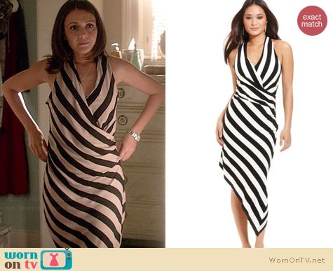 Betsey Johnson Striped Asymmetrical Hem Dress worn by Italia Ricci on Chasing Life