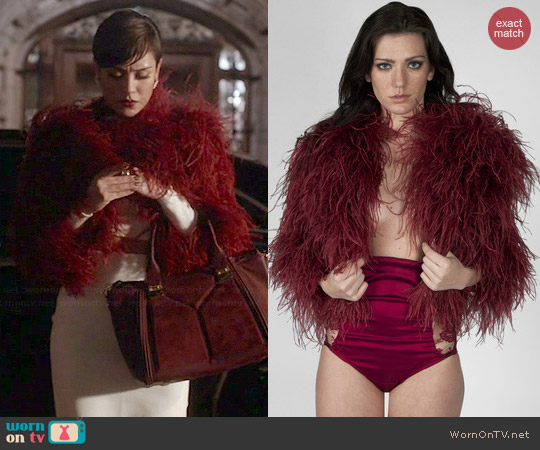 Bex NY The Angry Ostrich Coat in Merlot worn by Anika Calhoun on Empire