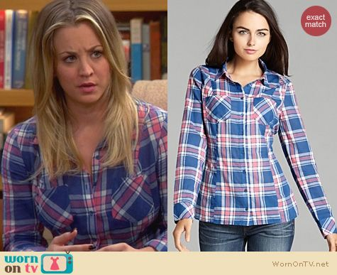 The Big Bang Theory Clothes: Guess Clasic Plaid Shirt worn by Kaley Cuoco