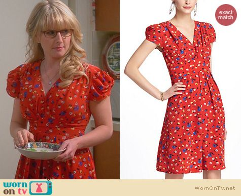 The Big Bang Theory Fashion: Anthropologie Basque Floral Dress worn by Melissa Rauch