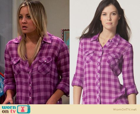 The Big Bang Theory Fashion: C&C California Plaid Shirt worn by Kaley Cuoco
