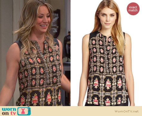 Big Bang Theory Fashion: Eight Sixty Printed Button Front Shirt worn by Kaley Cuoco