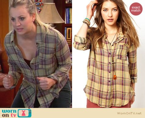 The Big Bang Theory Fashion: Free People Plaid Button Down worn by Kaley Cuoco