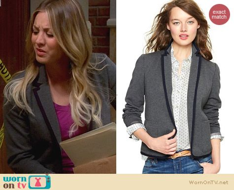 The Big Bang Theory Fashion: Gap Ponte Academy Blazer in Grey worn by Kaley Cuoco