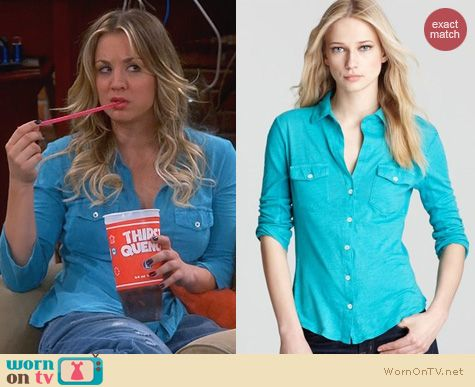 The Big Bang Theory Fashion: James Perse Slub Panel Shirt worn by Kaley Cuoco