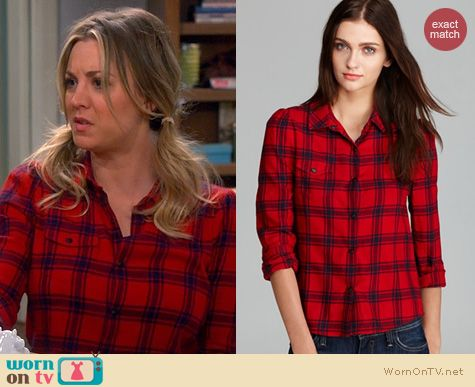 The Big Bang Theory Fashion: Joe's Jeans Dandy Woven Shirt worn by Kaley Cuoco