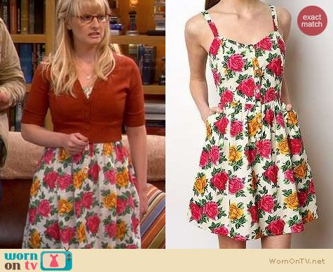 Big Bang Theory Fashion: Kimchi Blue Cabbage Rose Dress worn by Melissa Rauch