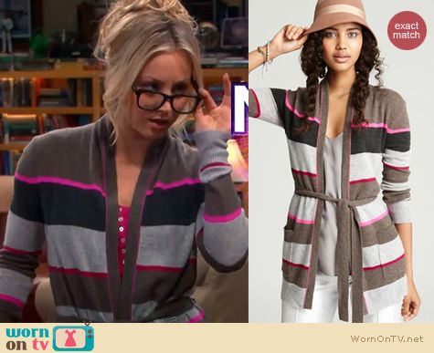 Big Bang Theory Fashion: Pink striped cardigan wrap by Aqua worn by Kaley Cuoco