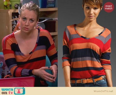 The Big Bang Theory Fashion: Splendid Barcelona Stripe Terra Cotta Tee worn by Kaley Cuoco