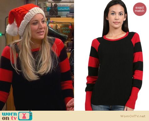 Kaley Cuoco Fashion: Minnie Rose Striped Sleeve Cashmere Sweater worn on The Big Bang Theory