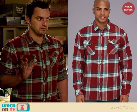 Billabong Wallingsford Flannel Shirt worn by Jake Johnson on New Girl