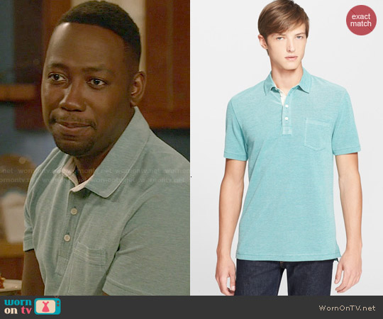 Billy Reid 'Davidson' Pique Polo in Deep Lake / Natural worn by Lamorne Morris on New Girl
