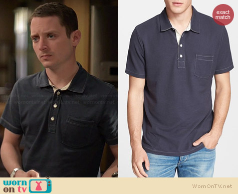 Billy Reid Davidson Pique Polo worn by Elijah Wood on Wilfred
