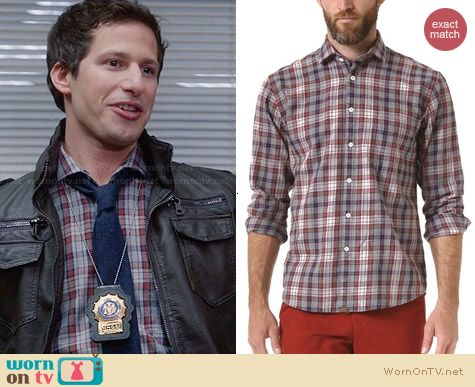 Billy Reid John T Plaid Sport Shirt worn by Andy Samberg on Brooklyn 99
