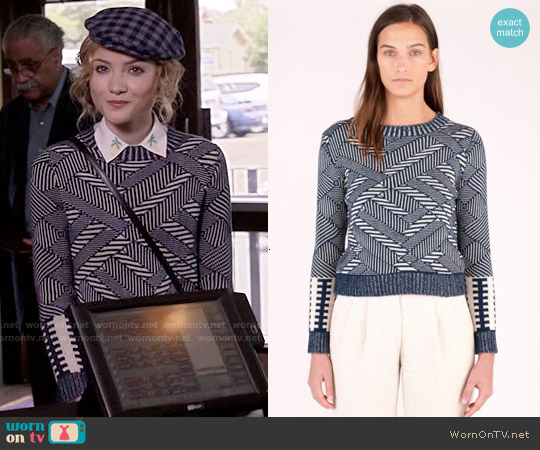 Billy Reid Long Sleeve Crew Sweater in Natural Indigo worn by Grace Gardner on Scream Queens