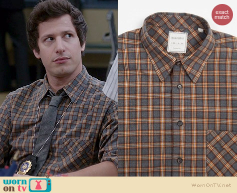 Billy Reid Walland Dusty Plaid Shirt worn by Andy Samberg on Brooklyn 99