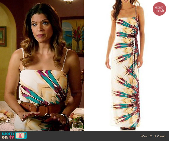 Bisou Bisou Sleeveless Belted Maxi Dress worn by Andrea Navedo on Jane the Virgin