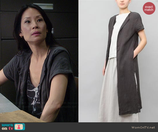 Black Crane Long Slit Coat in Grey worn by Joan Watson on Elementary