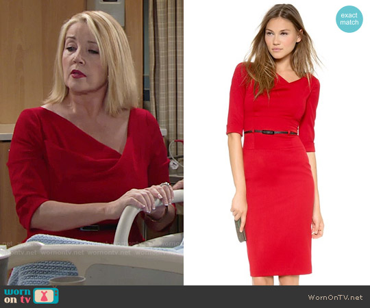 Black Halo 3/4 Sleeve Jackie O Dress worn by Melody Thomas-Scott on The Young & the Restless