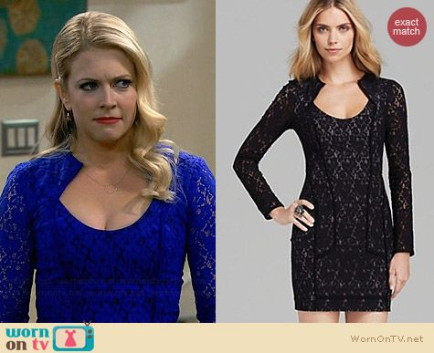 Black Halo Ashton Lace Mini Dress worn by Melissa Joan Hart on Melissa & Joey
