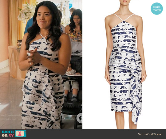 Black Halo 'Blythe' Printed Midi Dress worn by Gina Rodriguez on Jane the Virgin