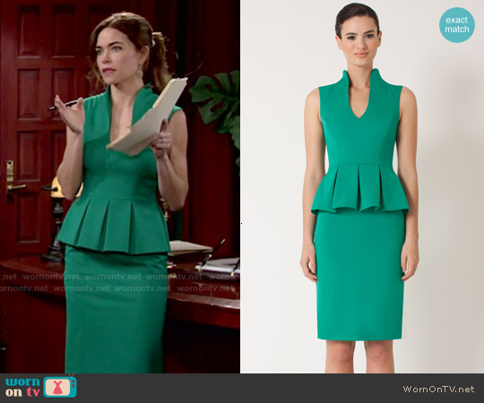 Black Halo Candeese Sheath in Summer Green worn by Amelia Heinle on The Young & the Restless