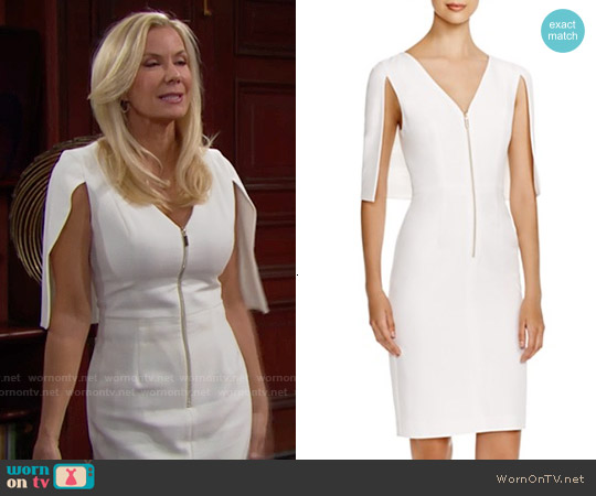 Black Halo Carissa Cape Dress worn by Katherine Kelly Lang on The Bold & the Beautiful