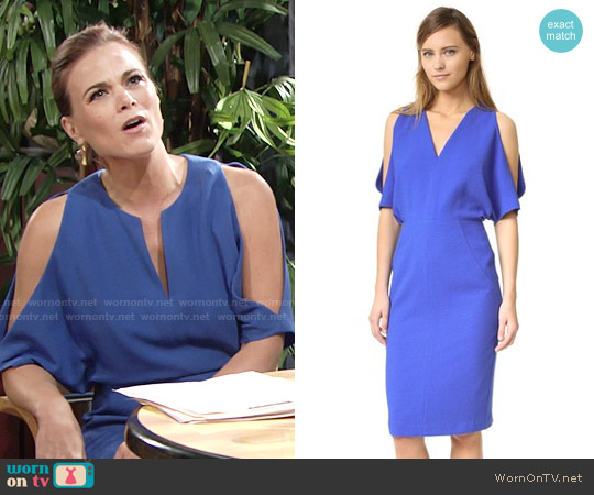 Black Halo Cybil Sheath Dress in Hydrangea worn by Gina Tognoni on The Young & the Restless
