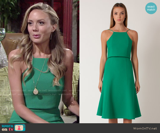 Black Halo Devine Dress in Green Cove worn by Melissa Ordway on The Young & the Restless