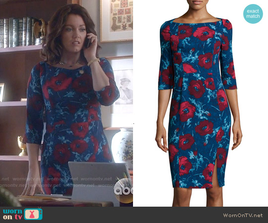 Black Halo Marissa Rococo Floral Sheath Dress worn by Bellamy Young on Scandal