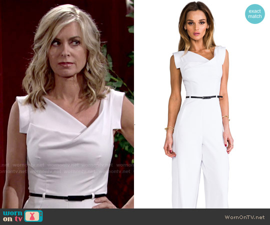 Black Halo Jackie Jumpsuit in White worn by Eileen Davidson on The Young & the Restless