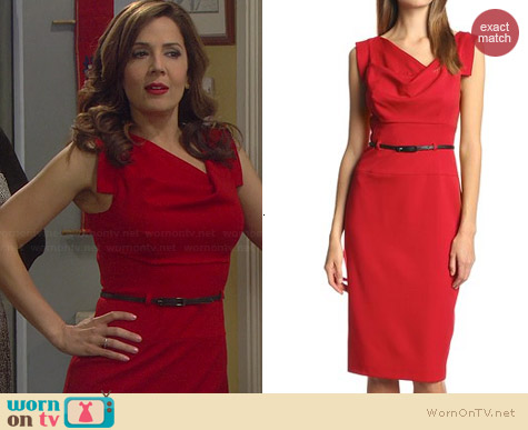 Black Halo Jackie O Dress in Red worn by Maria Canals-Barrera on Cristela