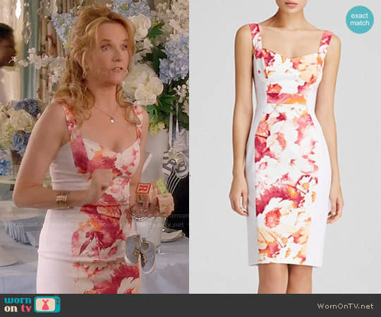 Black Halo Sadie Color Block Sheath worn by Lea Thompson on Switched at Birth