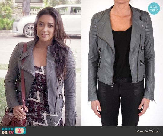 Black Orchid Lamb Leather Jacket worn by Emily Fields on PLL
